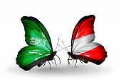 Two Butterflies With Flags On Wings As Symbol Of Relations Saudi Arabia And Austria