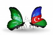 Two Butterflies With Flags On Wings As Symbol Of Relations Saudi Arabia And Azerbaijan