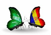 Two Butterflies With Flags On Wings As Symbol Of Relations Saudi Arabia And Andorra