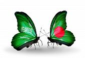 Two Butterflies With Flags On Wings As Symbol Of Relations Saudi Arabia And Bangladesh