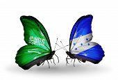 Two Butterflies With Flags On Wings As Symbol Of Relations Saudi Arabia And Honduras
