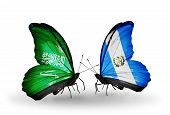 Two Butterflies With Flags On Wings As Symbol Of Relations Saudi Arabia And Guatemala