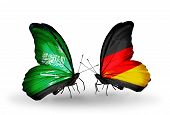 Two Butterflies With Flags On Wings As Symbol Of Relations Saudi Arabia And Germany
