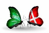 Two Butterflies With Flags On Wings As Symbol Of Relations Saudi Arabia And Denmark