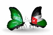 Two Butterflies With Flags On Wings As Symbol Of Relations Saudi Arabia And  Jordan