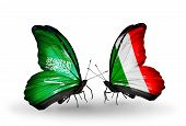 Two Butterflies With Flags On Wings As Symbol Of Relations Saudi Arabia And Italy