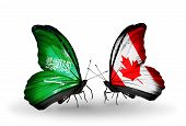 Two Butterflies With Flags On Wings As Symbol Of Relations Saudi Arabia And Canada