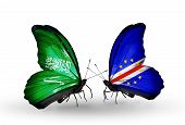 Two Butterflies With Flags On Wings As Symbol Of Relations Saudi Arabia And Cape Verde