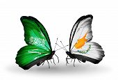 Two Butterflies With Flags On Wings As Symbol Of Relations Saudi Arabia And Cyprus