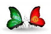 Two Butterflies With Flags On Wings As Symbol Of Relations Saudi Arabia And Kirghiz