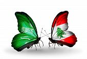Two Butterflies With Flags On Wings As Symbol Of Relations Saudi Arabia And Lebanon