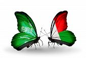 Two Butterflies With Flags On Wings As Symbol Of Relations Saudi Arabia And Madagascar