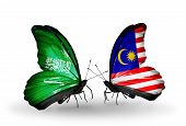 Two Butterflies With Flags On Wings As Symbol Of Relations Saudi Arabia And Malaysia