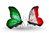 Two Butterflies With Flags On Wings As Symbol Of Relations Saudi Arabia And Malta