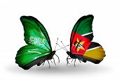 Two Butterflies With Flags On Wings As Symbol Of Relations Saudi Arabia And Mozambique