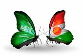 Two Butterflies With Flags On Wings As Symbol Of Relations Saudi Arabia And Niger