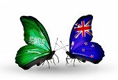 Two Butterflies With Flags On Wings As Symbol Of Relations Saudi Arabia And New Zealand