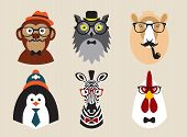 Cute fashion Hipster Animals pets, set of vector icons, illustration