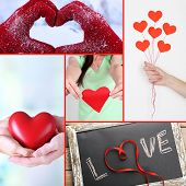 Collage of some different hearts images, Love concept