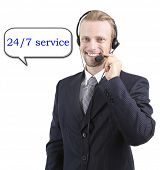 Call center operator isolated on white, Round-the-clock support concept