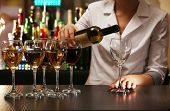 picture of bartender  - Bartender working at counter on bar background - JPG