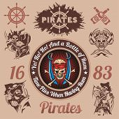 Pirate themed design elements - vector set.