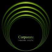 Glow vector green curve logo on black background