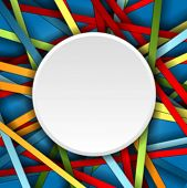 Colorful stripes background with blank circle. Vector design