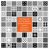 Different monochrome retro seamless patterns - vector set