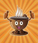 Cartoon smiling coffee cup