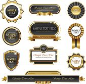 set of black and golden promo stickers seals and ribbons