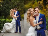 stock photo of blue  - Collage of wedding photos  - JPG