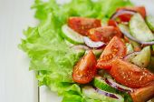 Salad With Cucumbers And Tomatoes Olive Oil