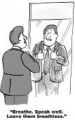 foto of gag  - Cartoon is a businessman in front of a mirror preparing for a speaking engagement saying to breathe - JPG