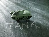 close up of toy military tank