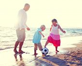 Father Daughter Son Beach Fun Summer Concept