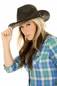 Cowgirl Blue Shirt Touch Hat Looking