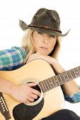 Cowgirl With Guitar In Blue Shirt Close Look Serious