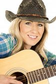 Cowgirl With Guitar In Blue Shirt Close Smile