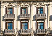 Facade with balconies in Barcelona