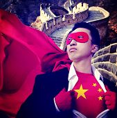 Superhero Businessman Chinese Flag Patriotism National Flag Concept