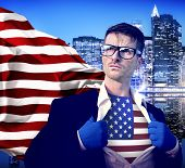 Superhero Businessman American with Cityscape Concept