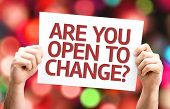 Are You Open to Change? card with colorful background with defocused lights