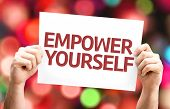 Empower Yourself card with colorful background with defocused lights