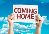 Coming Home card with sky background