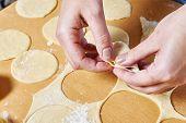 Sculpting Of Traditional Russian Meat Dumplings