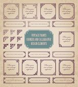 Vintage frames, corners and calligraphic design elements