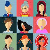 Set of flat style female characters.