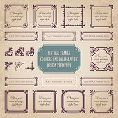 Vintage frames, corners and calligraphic design elements - set 1