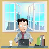 Office men working computer